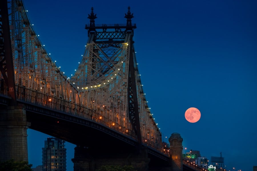 Full Moon by the 59th Street bridge in NYC, on July 12, 2014